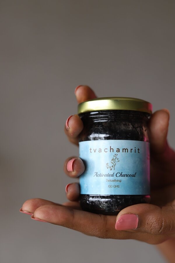 tvachamrit activated charcoal hand